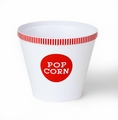 Classic Red Striped Rim Popcorn Bucket - Large