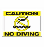 "Swimline Caution - No Diving 18"" x 12"" Sign # 8988"