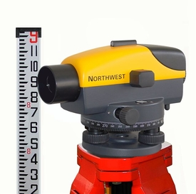 NCLP26X Northwest Automatic Level Kit with Tripod and Level rod in Eighths