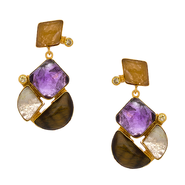 dangle natural india p gemstone from earrings multi amethyst peridot glamour