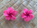 "1.5"" Inch Hawaiian Plumeria Fimo Post Earrings Sherbet Pink w/ Purple Center"