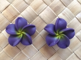 "1.5"" Inch Hawaiian Plumeria Fimo Post Earrings Deep Purple"