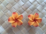"1.5"" Inch Hawaiian Plumeria Fimo Post Earrings Orange w/ Red Tips & Red Center"
