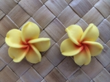 "1""  &  1.5"" Inch Hawaiian Plumeria Fimo Post Earrings Yellow w/ Red Center"