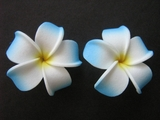 2 pc Mini Pointed Petals Plumeria Flower Hair Clip Set  White Blue