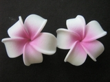 2 pc Mini Pointed Petals Plumeria Flower Hair Clip Set  White Mauve