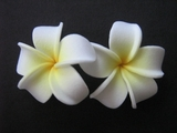 2 pc Mini Pointed Petals Plumeria Flower Hair Clip Set  White Yellow
