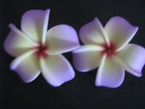 2 pc Mini Pointed Petals Plumeria Flower Hair Clip Set  Yellow Lavender