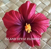 "3.5"" HIBISCUS FOAM FLOWER HAIR PICK-Red"