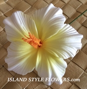 "3.5"" HIBISCUS FOAM FLOWER HAIR PICK-White"