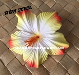 "3.5"" HIBISCUS FOAM FLOWER HAIR PICK-White w/ Yellow/Orange Tips"