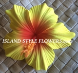 "3.5"" HIBISCUS FOAM FLOWER HAIR PICK-Yellow Red Center"