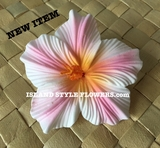 "3.5"" HIBISCUS FOAM FLOWER HAIR PICK-White w/ Yellow Center & Pink Stripes"