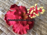 "3"" Hibiscus Double Petals Flower Hair Pick or Clip -Red"