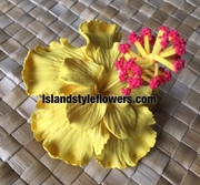 "3"" Hibiscus Double Petals Flower Hair Pick or Clip -Yellow"