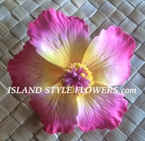 "3"" HIBISCUS FOAM FLOWER -Sherbet Pink w/ Yellow Center"