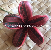3 Inch Tribal Print Pointed Petal Plumeria Pick- Red