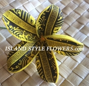 3 Inch Tribal Print Pointed Petal Plumeria Pick- Yellow