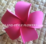 4 Inch Pointed Petal Plumeria Flower- Sherbet Pink w/ Red Center