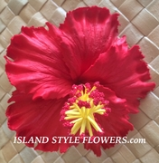 "5"" Inch Hibiscus Foam Flower Hair PICK-Red"