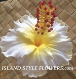 "5"" Inch Hibiscus Foam Flower Hair PICK-White"