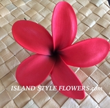 "5 ""STAR POINTED PETAL PLUMERIA FLOWER HAIR PICK Red"