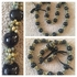 BLACK Hawaiian Kukui Nut Lei Necklace w/ Green Colored Mongo Shells