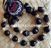 BLACK HAWAIIAN KUKUI NUT LEI NECKLACE w/ Multi Colored Mongo Shell