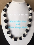 BLACK Hawaiian Kukui Nut Lei Necklace w/ White Colored Mongo Shells