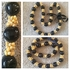 BLACK Hawaiian Kukui Nut Lei Necklace w/ Yellow Colored Mongo Shells