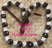 BROWN Hawaiian Kukui Nut Lei Necklace w/ White Colored Mongo Shells