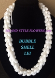 Hawaiian Bubble Shell Braided Lei Necklace- White