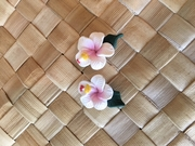 "Hawaiian Hibiscus Flower Fimo  Post Earring WHITE PINK 0.5"" inch"