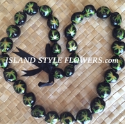HAWAIIAN KUKUI NUT BLACK COLOR LEI NECKLACE-Palm Trees