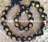 HAWAIIAN KUKUI NUT BLACK COLOR LEI NECKLACE-Pineapple