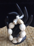 Hawaiian Kukui Nut Bracelet- Cream Unpolished