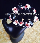 Hawaiian Kukui Nut Bracelet- White w/ Red Center