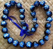 HAWAIIAN KUKUI NUT FLOWER LEI NECKLACE-Handpainted Hibiscus Blue