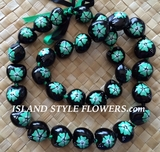 HAWAIIAN KUKUI NUT FLOWER LEI NECKLACE-Handpainted Hibiscus  Green