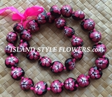 HAWAIIAN KUKUI NUT FLOWER LEI NECKLACE-Handpainted Hibiscus - Hot Pink