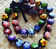 HAWAIIAN KUKUI NUT FLOWER LEI NECKLACE-Handpainted Hibiscus Multicolored-B