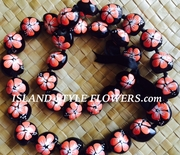 HAWAIIAN KUKUI NUT FLOWER LEI NECKLACE-Handpainted Hibiscus - Orange