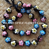 HAWAIIAN KUKUI NUT FLOWER LEI NECKLACE-Handpainted Hibiscus PASTEL Multicolored