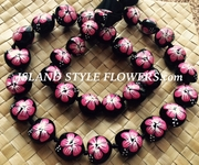 HAWAIIAN KUKUI NUT FLOWER LEI NECKLACE-Handpainted Hibiscus-Fushia