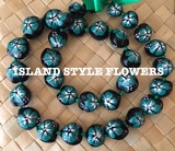 HAWAIIAN KUKUI NUT FLOWER LEI NECKLACE-Handpainted Hibiscus -TEAL