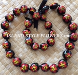 HAWAIIAN KUKUI NUT FLOWER LEI NECKLACE-Handpainted Hibiscus -Red Hibiscus with Yellow Center
