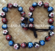 HAWAIIAN KUKUI NUT FLOWER LEI NECKLACE-Handpainted Hibiscus -Red White & Blue Patriotic Colors