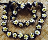HAWAIIAN KUKUI NUT FLOWER LEI NECKLACE-Handpainted Hibiscus -White Hibiscus w/ Yellow Center- A
