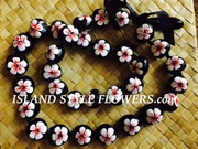 HAWAIIAN KUKUI NUT FLOWER LEI NECKLACE-Handpainted Hibiscus -White Hibiscus with Red Center