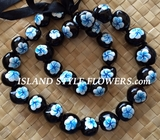 HAWAIIAN KUKUI NUT FLOWER LEI NECKLACE-Handpainted Plumeria Blue